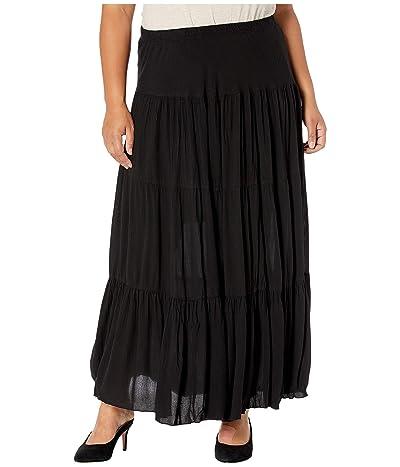 Karen Kane Plus Plus Size Crushed Tiered Maxi Skirt (Black) Women