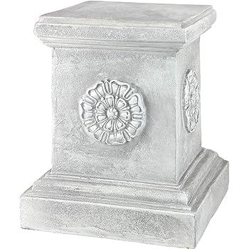 Design Toscano CL5194 English Rosette Sculptural Garden Plinth Base Riser, Large 13 Inch, Polyresin, Antique Stone