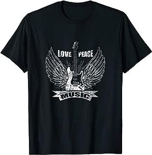 Cool Love Peace Music Shirt Rock Metal Guitar Angel Wings