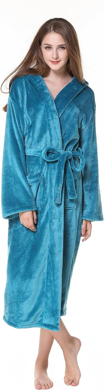 Cahayi Warm Plush Flannel Women Bathrobe Long Hooded Spa Robe Kimono with Belt