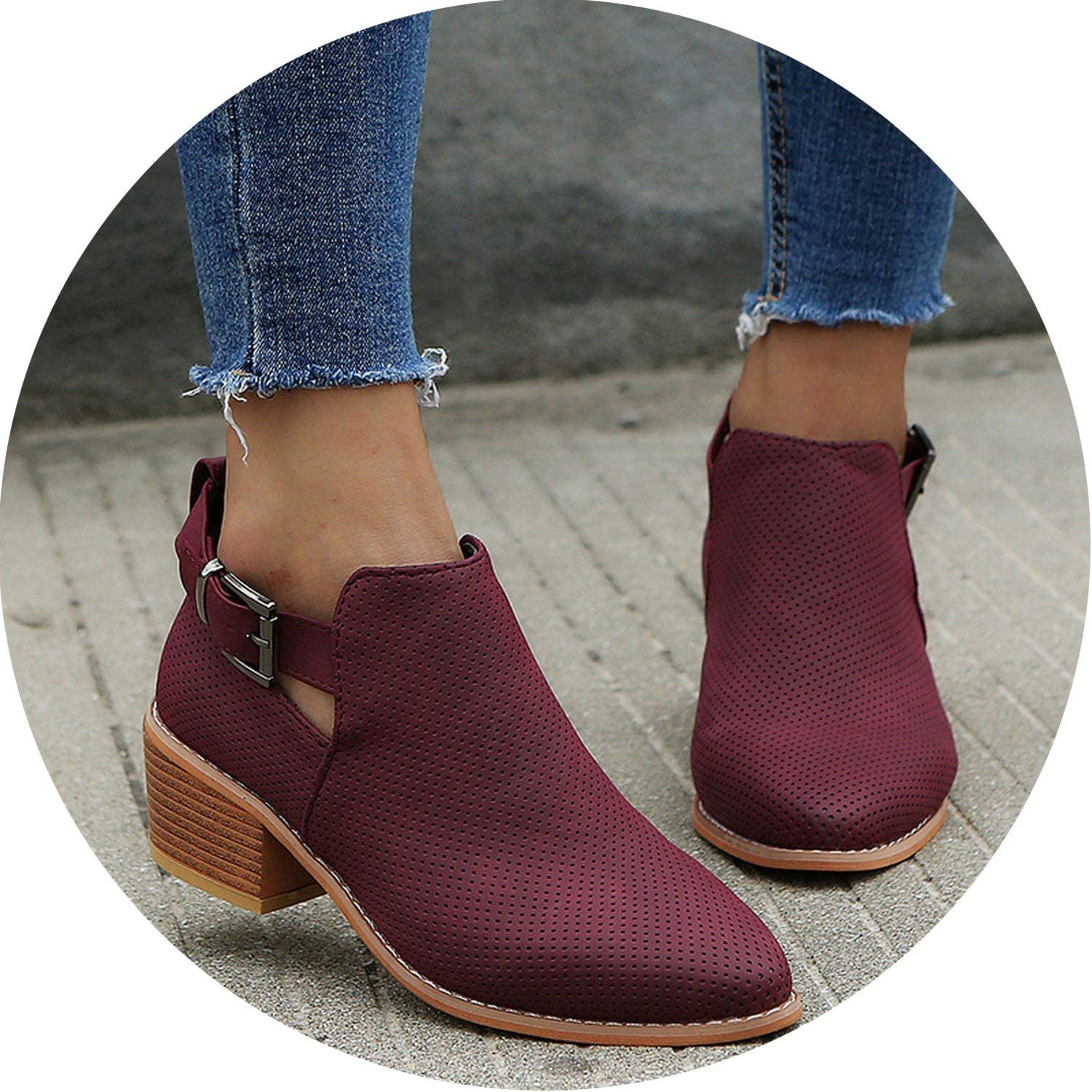 Crazy-Shop Winter Boots Women Out Ankle Boots for Women Pointed Toe Square Heel Ladies shoes Bota