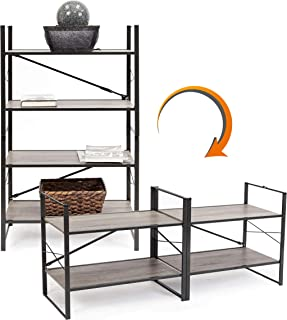 Origami/Pop It 2-in-1 Vertical or Horizontal Flip Rack, No Tools Needed   Bookcase, Organizer, Portable Storage, Display for Home and Business, Holds up to 30 lbs/Shelf (120 lbs Total)   Wood/Steel