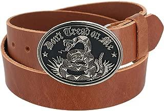 CTM Men's Bridle Belt with Don't Tread on Me Buckle (2 Buckle Set)