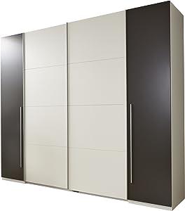 Stella Trading Match 4-türiger Kleiderschrank, Holz, weiß/lava, 61 x 315 x 225 cm