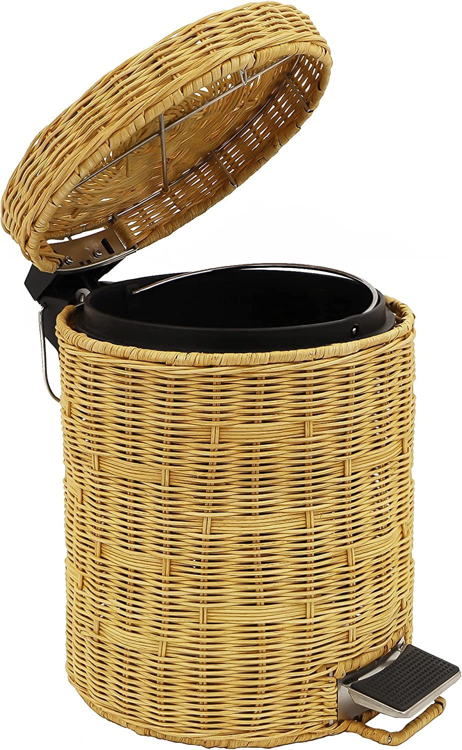Free Shipping Cheap Bargain Gift Wicker Trash free Can with lid Step Bathroom Rattan Handwoven