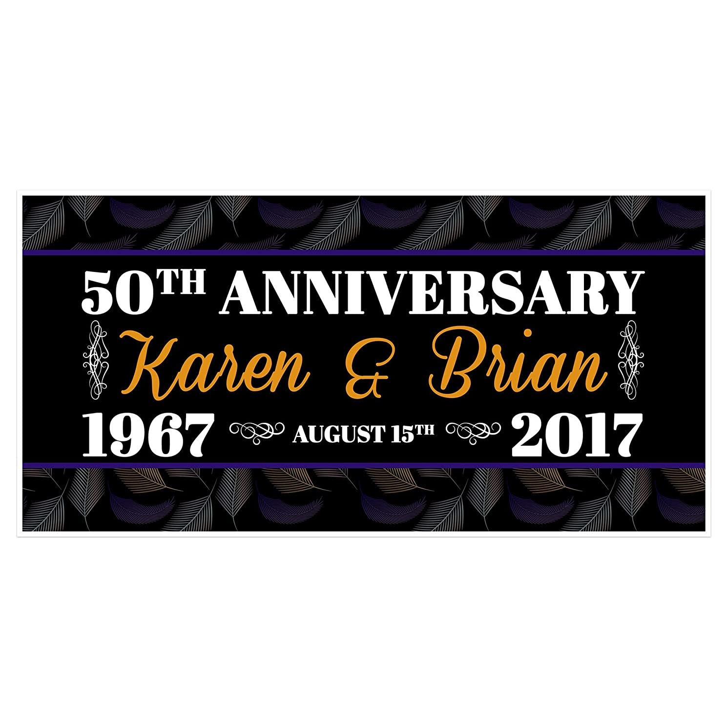 50th Wedding Anniversary Banner Personalized Party Decoration