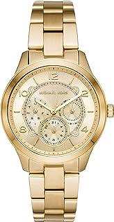 Michael Kors Runway - Reloj de cuarzo para mujer, correa chapada en acero inoxidable, color dorado