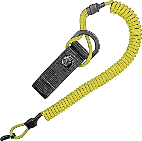 Cable en espiral, llavero elástico de paracord, cordón, llavero, correa elástica, soporte RSG con mosquetón (amarillo)