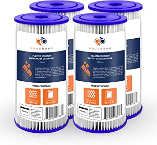 """Aquaboon 1 Micron 10"""" Big Blue Pleated Sediment Water Filter Replacement Cartridge 