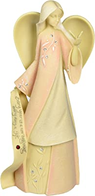 """Foundations January Monthly Angel Stone Resin Figurine, 7.5"""""""