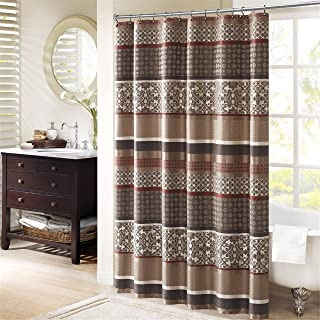 Madison Park Princeton Geometric Jacquard Fabric, Transitional Shower Curtains for Bathroom, 72 X 72, Red