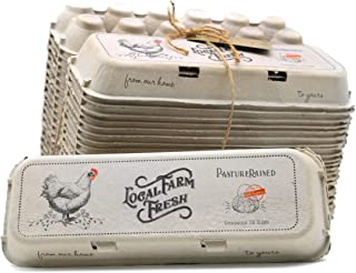 25 Egg Cartons for Local Farm Fresh Eggs, Pasture Raised, Flat Top Vintage Design, Made from Recycled Paper, Holds dozen eggs, up to XL Chicken Eggs. Perfect for Small Local Farms and Farmer's Market