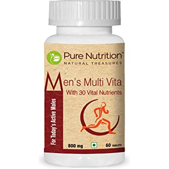 Pure Nutrition Men's Multi Vita, Fortified with 30 Bioactive Vital Nutrients with Ginseng Extracts, Omega 3 and Multi minerals, 60 Tablets