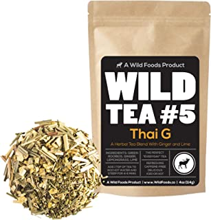 Green Rooibos Tea with Ginger, Lemongrass and Lime, All-Natural Organically Grown Ingredients - Wild Tea #5 Loose Leaf Roo...