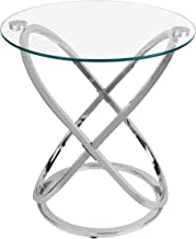 Danya B. HA01516 Modern Home Decor - Galaxy Small Round Clear Tempered Glass and Metal Chrome Side Table - Bedside Table – End Table - Accent Table