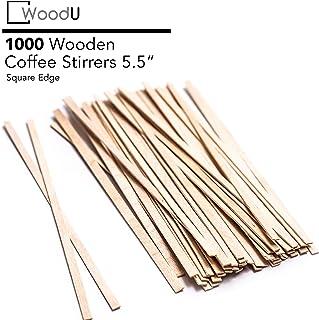 "Coffee Stir Sticks 5.5"" 1000pc Square End, Eco Friendly Coffee Stirrers Wood for Hot Drinks"