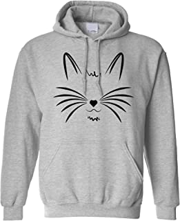 I Love Cats Hoodie Face with Heart Nose Hooded Jumper