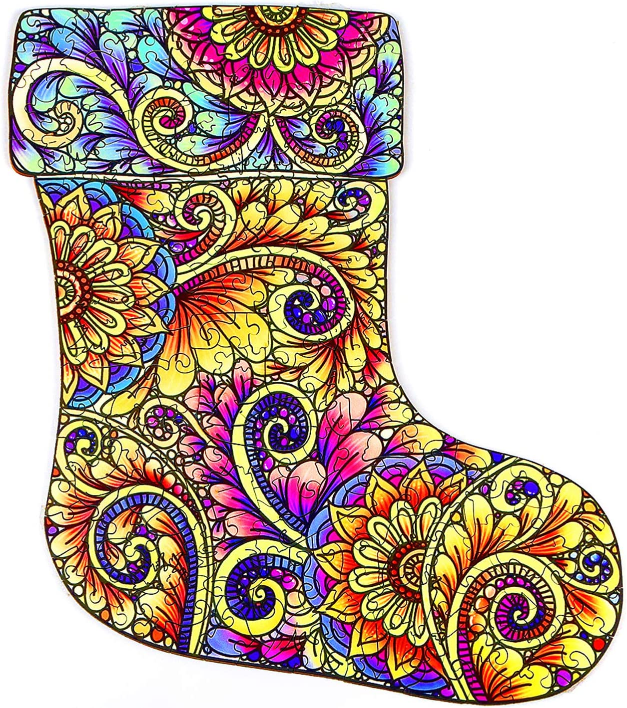 RAYKUL Wooden Jigsaw Puzzles for Adults Unique Shape Puzzle Pieces Jigsaw Puzzles Gorgeous Christmas Socks Puzzles Game Gift for Family Friends Christmas Socks Puzzle, Small,6.1x9.1