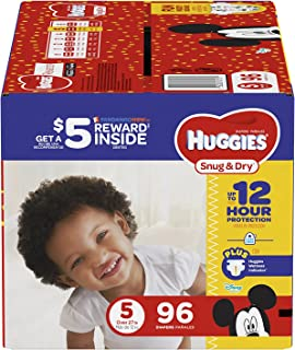 HUGGIES Snug & Dry Diapers, Size 5, 96 Count, GIGA JR PACK (Packaging May Vary)