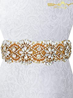 ShiDianYi Wedding Dress Sash - Rhinestone - Pearl - Georgia Sash White Wedding Sash (Renewed)