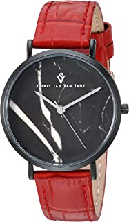 Christian Van Sant Women's Lotus Stainless Steel Quartz Leather Strap, Red, 15 Casual Watch (Model: CV0424RD)
