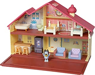 Bluey Heeler Family Home Play Set: 1 Official Collectable Bluey Action Figure, Large Playhouse Playset 4 Rooms, Furniture ...