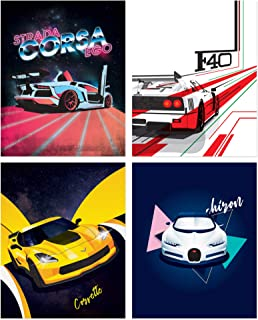Sports Car Poster Prints - Set of 4 Unframed (8x10 inches) Exotic Supercar Decor - Lamborghini - Bugatti - Ferrari - Corve...