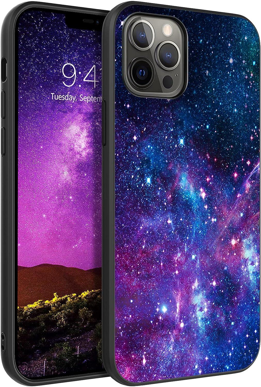 GaoBao iPhone 12 Pro Max Case, iPhone 12 Pro Max Case Nebula, Slim Glow in The Dark Hybrid Hard PC Soft Rubber Bumper Protective Purple Nebula Pattern Silicone Case for iPhone 12 Pro Max 6.7