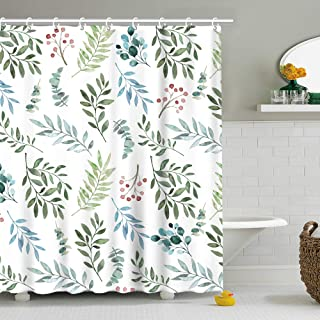 Stacy Fay Fabric Shower Curtain Curtains with Hooks Green Leaves Watercolor Floral Botanical Artistic Botany Bouquet Branch 70.8