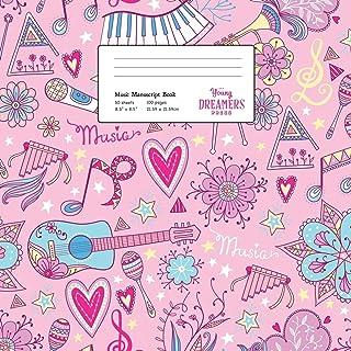 Music Manuscript Book: Girls Musical Instruments, Large Kids Stave Paper: 4