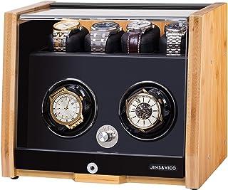 JINS & VICOワインディングマシーン ウォッチワインダー 時計自動巻き上げ機2本巻き上げ 4本収納 超静音 高級 ナチュラル竹 一年保証期間
