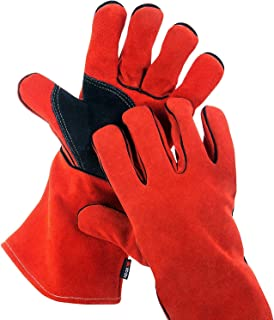 NoCry Heavy Duty Heat Resistant & Flame Retardant Welding & BBQ Gloves, Premium Cowhide Leather, Long 14 inch Forearm Protection. Red, Size Small