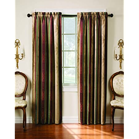 Thermatec Tuscan Stripe Thermal Backed Pole Top Panel 52 Inch By 63 Inch Autumn Home Kitchen