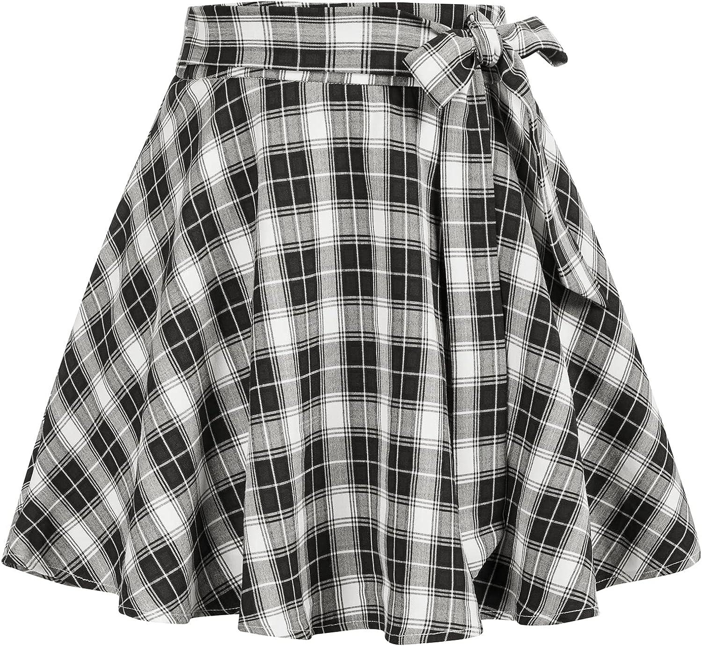 Belle Poque Women Plaid Skirt with Pockets and Belt Vintage High Waist Skirt