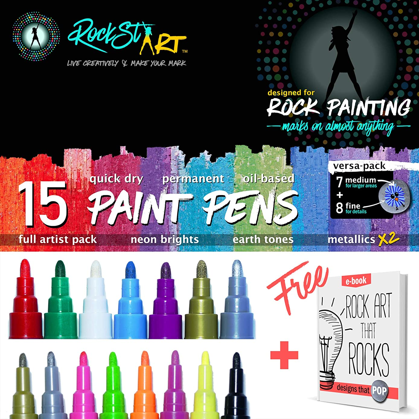 Paint Pens by RockstART   15 Pack Rock Painting Kit of Artist Quality UV Oil-Based Paint Markers + Fine Tip & Medium Pens for Car Tires, Wood, Metal, Mugs, Glass, or Anything + Live Life Creatively