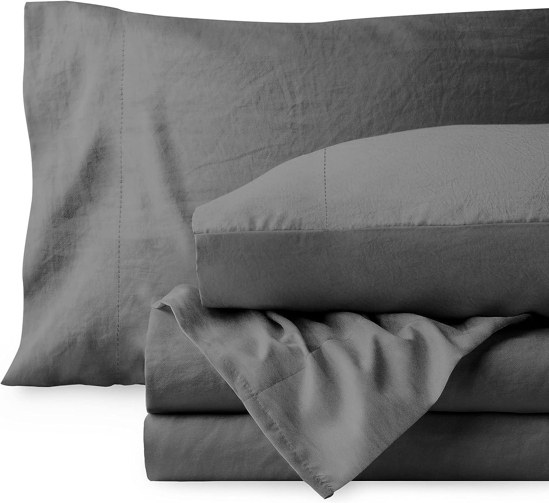 Bare Home Sandwashed Queen Sheet Set - Premium 1800 Ultra-Soft Microfiber Queen Bed Sheets - Incredible Softness - Deep Pocket - Bedding Sheets & Pillowcases (Queen, Sandwashed Grey)