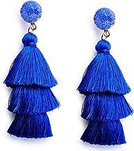 Me&Hz Colorful Layered Tassel Earrings Bohemian 3 Tier Big Dangle Drop Statement Earrings for Women Girls Tiered Tassel Druzy Stud Earrings Women Gifts