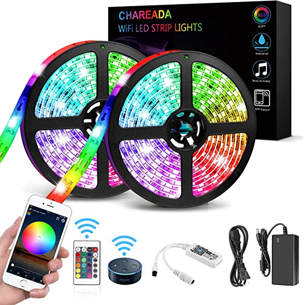 LED Strip Lights WiFi Wireless Smartphone Controlled Waterproof RGB Rope Lights Flexible 5050 Light Strip 32 8ft 300LEDs 24key IR Remote Controller DC12V UL Power Adapter Work With Android IOS Alexa