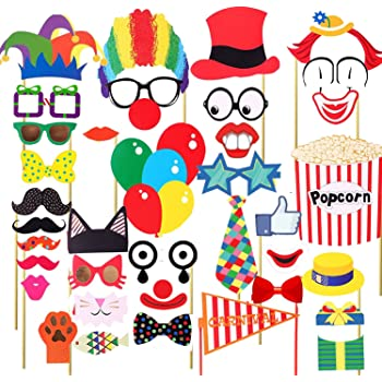 Veewon 36pcs Funny Party Photo Booth Props Diy Kit Red Nose Circus Clown Cosplay Photography Prop For Carnival Party Wedding Birthday And Graduation Party Amazon Co Uk Toys Games