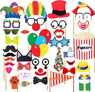 7-gost 36PCS Circus Clown Birthday Party Masks Photo Booth Props Mustache On A Stick
