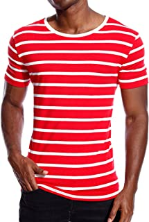 Striped T Shirt for Men Stripes Casual Tee Top Crew Neck Cotton Slim Fit Male