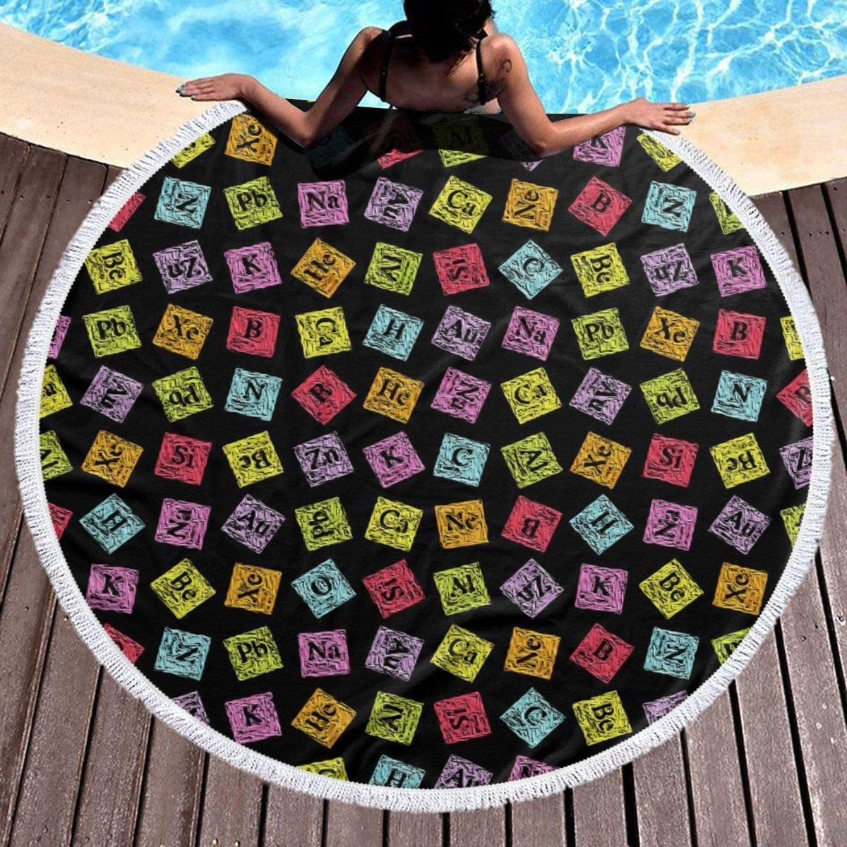 Round Beach Towel Chemistry Turvy w Blanket Funny Periodic Indianapolis Mall Max 42% OFF Large