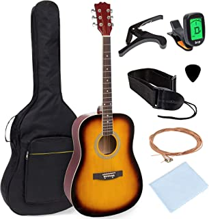 Best Choice Products 41in Full Size Beginner All Wood Acoustic Guitar Starter Set w/Case, Strap, Capo, Strings, Picks, Tun...