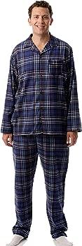 Mens Plaid Button Front Flannel Pajamas Set