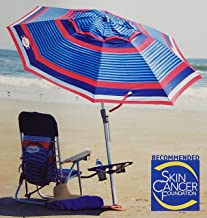 Tommy Bahama 2018 Multi-color 7 Foot Aluminum Market Style Beach Umbrella with Tilt and Wind Vent