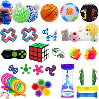Fidget Toys Set,40 Pack Sensory Toys Pack for Stress Relief ADHD Anxiety Autism for Kids&Adults,Grape Ball/Fidget Pad/Stre...