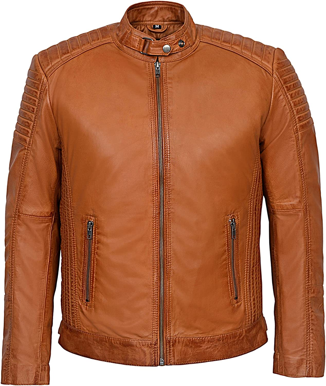 Men's Cognac Cool Retro Biker Style Soft Padded Sheep Napa Leather Jacket 1829-B