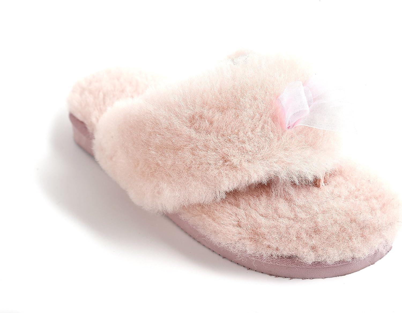 L.A.M.B. Lamb Women's Natural Australian Sheepskin Flip Flops Slippers