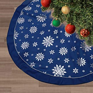 FLASH WORLD Christmas Tree Skirt,48 inches Large Xmas Tree Skirts with Snowy Pattern for Christmas Tree Decorations (Blue—Three Cotton Layer)