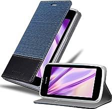 Cadorabo Funda Libro para Nokia Lumia 530 en Azul Oscuro Negro – Cubierta Proteccíon con Cierre Magnético, Tarjetero y Función de Suporte – Etui Case Cover Carcasa